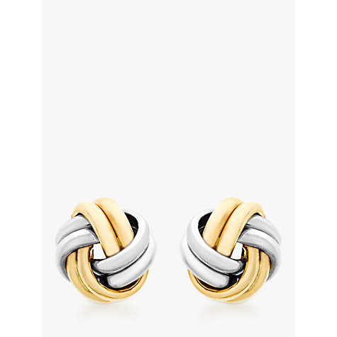 Buy IBB 9ct Gold Small Knot Stud Earrings, Gold Online at johnlewis.com
