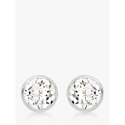 Buy IBB 9ct White Gold Round Cubic Zirconia Earrings Online at johnlewis.com