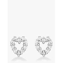 Buy IBB 9ct White Gold Small Heart Stud Earrings, White Gold Online at johnlewis.com