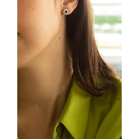 Buy IBB 9ct White Gold Flower Cubic Zirconia Stud Earrings, White Online at johnlewis.com