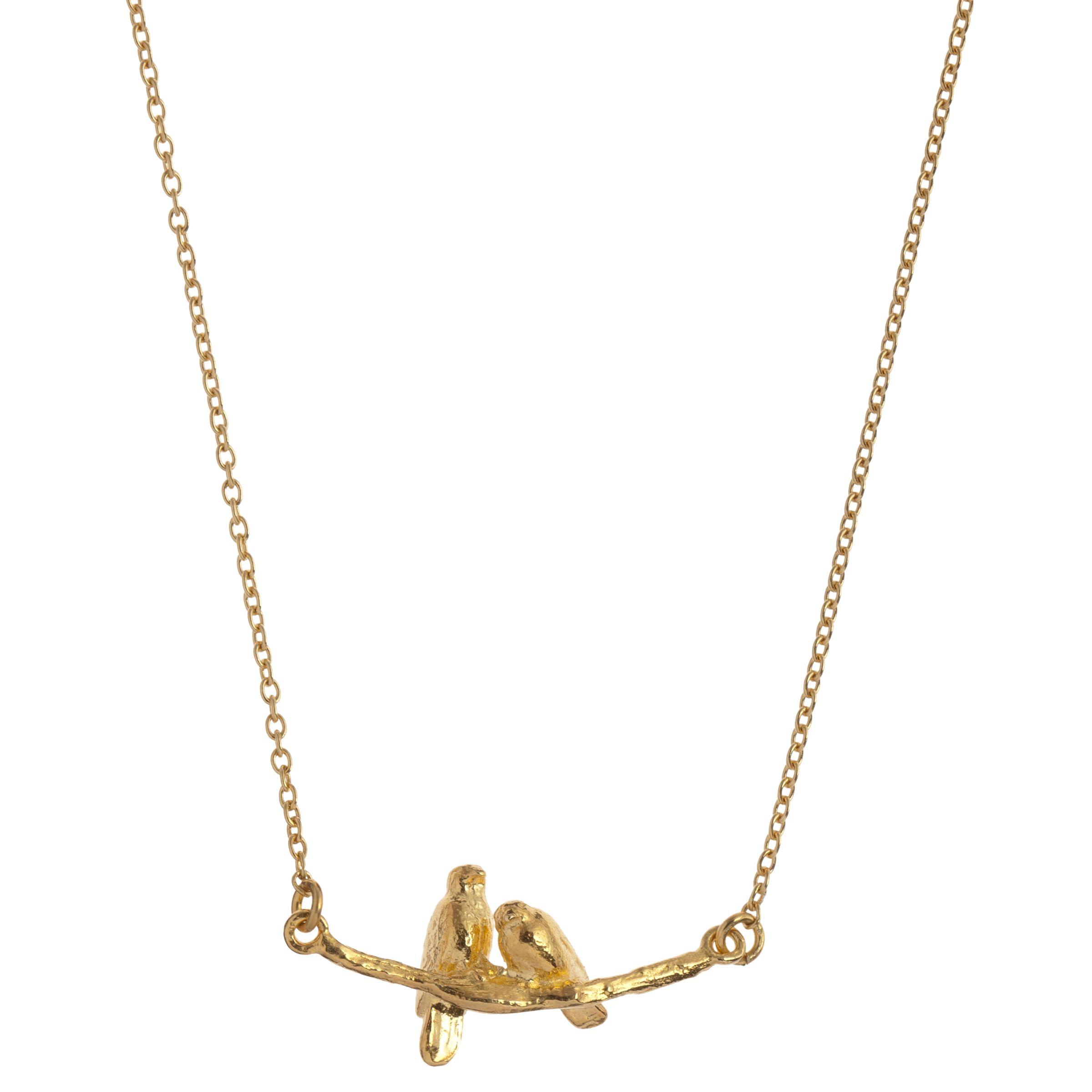 Alex Monroe Alex Monroe 22ct Gold Vermeil Lovebirds Branch Pendant Necklace, Gold