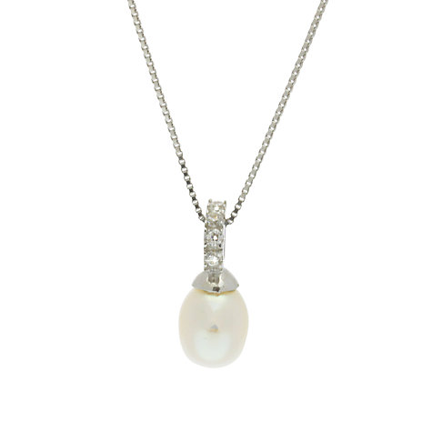 Buy Lido Pearls Half Circle Pearl and Cubic Zirconia Pendant, White Online at johnlewis.com