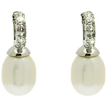 Buy Lido Half Circle Pearl and Cubic Zirconia Drop Earrings, White Online at johnlewis.com