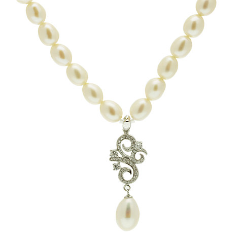 Buy Lido Pearl Necklace Vintage Silver Scroll Pendant, White Online at johnlewis.com