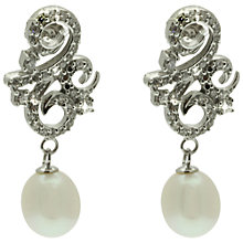 Buy Lido Silver Scroll Pearl Drop Earrings, White Online at johnlewis.com