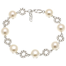 Buy Lido Pearls Button Pearl and Cubic Zirconia Bracelet, White Online at johnlewis.com