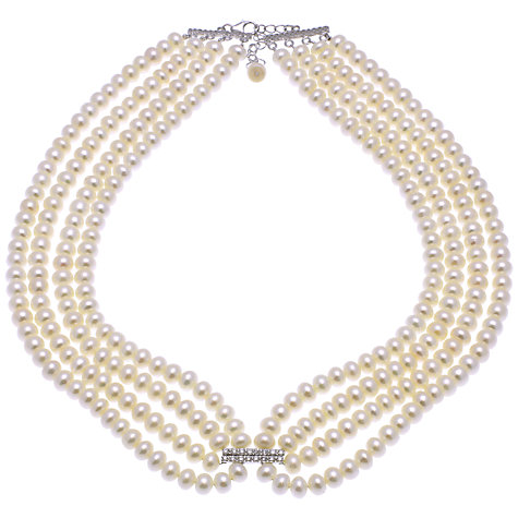 Buy Lido Freshwater Pearl and Cubic Zirconia Four Row Necklace, White Online at johnlewis.com
