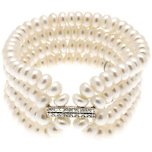 Buy Lido Freshwater Pearl and Cubic Zirconia Four Row Stretch Bracelet, White Online at johnlewis.com