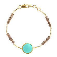 Buy John Lewis Gemstones Chrysoprase Circle with Smoky Quartz Adjustable Bracelet, Sea Green Online at johnlewis.com