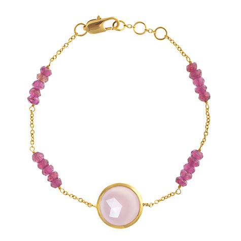 Buy John Lewis Gemstones Rose Quartz Circle with Pink Garnet Adjustable Bracelet, Pink Online at johnlewis.com