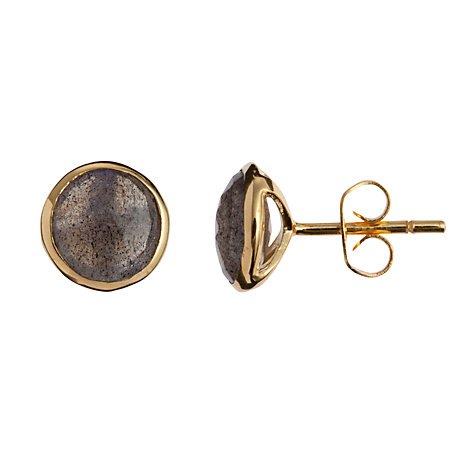 Buy John Lewis Gemstones Labradorite Circle Stud Earrings, Grey Online at johnlewis.com