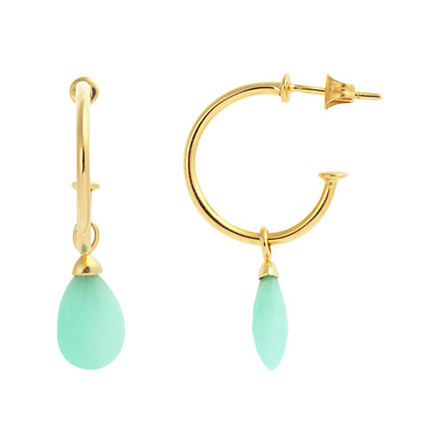 Buy John Lewis Gemstones Single Chrysoprase Drop Sleeper Hoop Stud Earrings, Sea Green Online at johnlewis.com
