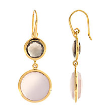 Buy John Lewis Gemstones Double Drop Rose and Smoky Quartz Hook Earrings, Pink Online at johnlewis.com