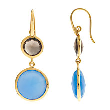 Buy John Lewis Gemstones Double Drop Chalcedony and Smoky Quartz Hook Earrings, Blue Online at johnlewis.com