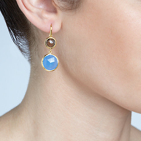 Buy John Lewis Gemstones Gold Plated Chalcedony Double Drop Hook Earrings, Blue Online at johnlewis.com