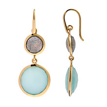Buy John Lewis Gemstones Double Drop Chalcedony and Labradorite Hook Earrings, Aqua Online at johnlewis.com