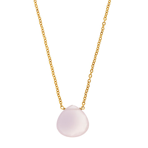 Buy John Lewis Gemstones Teardrop Rose Quartz Pendant Necklace, Pink Online at johnlewis.com