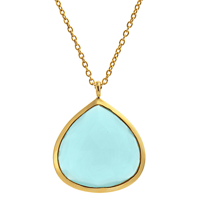 John Lewis Gemstones Gold Plated Chalcedony Large Teardrop Pendant Necklace, Aqua