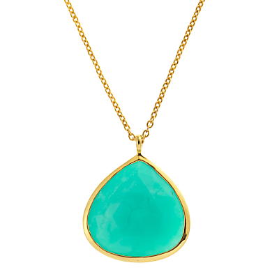 John Lewis Gemstones Gold Plated Chrysoprase Teardrop Pendant Necklace, Sea Green