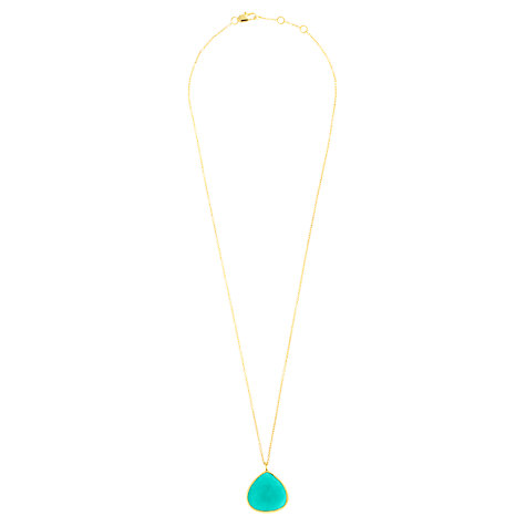 Buy John Lewis Gemstones Gold Plated Chrysoprase Teardrop Pendant Necklace, Sea Green Online at johnlewis.com
