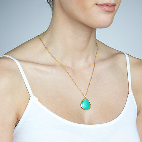 Buy John Lewis Gemstones Large Teardrop Chrysoprase Pendant Necklace, Sea Green Online at johnlewis.com