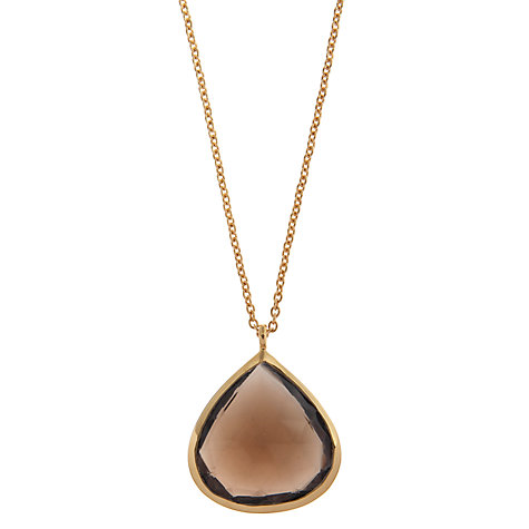 Buy John Lewis Gemstones Large Teardrop Smoky Quartz Pendant Necklace, Brown Online at johnlewis.com