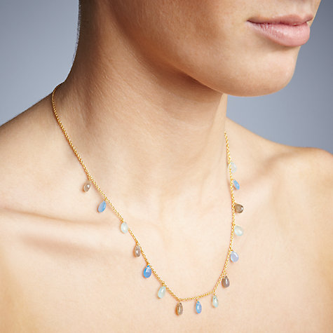Buy John Lewis Gemstones Teardrop Chalcedony and Labradorite Short Necklace, Multi Online at johnlewis.com