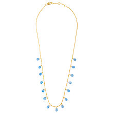 Buy John Lewis Gemstones Teardrop Chalcedony Short Necklace, Blue Online at johnlewis.com