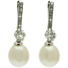 Buy Lido Long Bar Pearl and Cubic Zirconia Drop Earrings, White Online at johnlewis.com