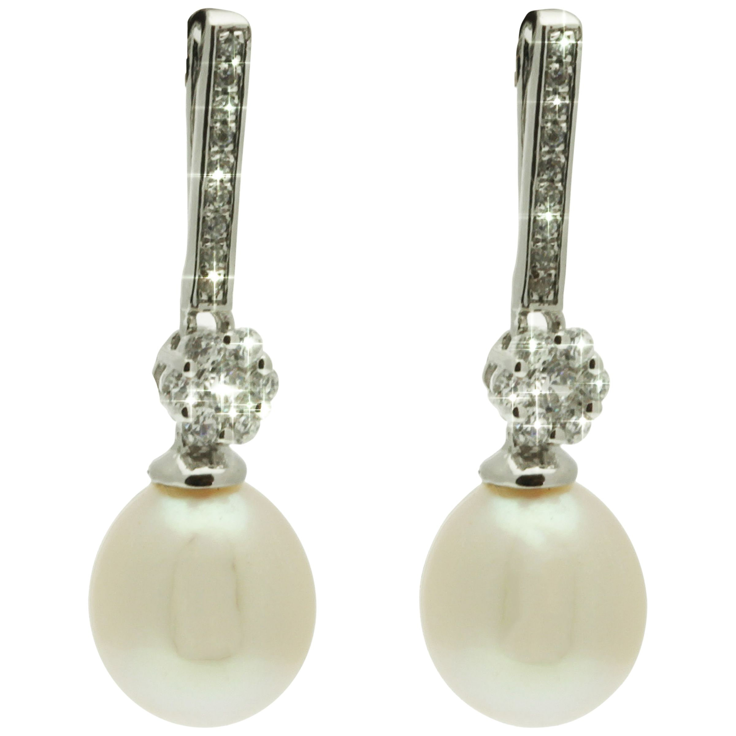 Lido Long Bar Pearl and Cubic Zirconia Drop Earrings, White
