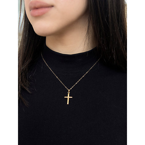 Buy IBB 9ct Yellow Gold Cross Pendant Necklace, Gold Online at johnlewis.com