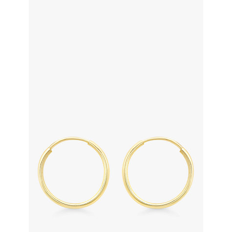 Buy IBB 9ct Gold Plain Hoop Earrings Online at johnlewis.com