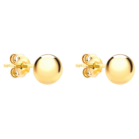 Buy IBB 9ct Yellow Gold 6mm Ball Stud Earrings, Yellow Gold Online at johnlewis.com