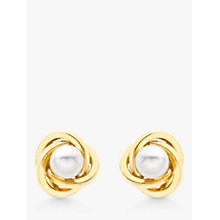 Buy IBB 9ct Gold Cultured Pearl Knot Stud Earrings, Gold Online at johnlewis.com