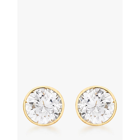 Buy John Lewis 9ct Gold Round Cubic Zirconia Spanish Earrings Online at johnlewis.com