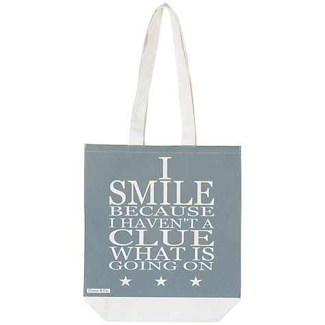 Buy Green and Co. Smile Canvas Bag Online at johnlewis.com