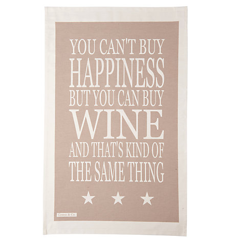 Buy Green and Co. Wine Teatowel, Grey Online at johnlewis.com