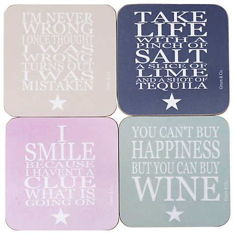 Buy Green and Co. Coasters, Set of 4 Online at johnlewis.com