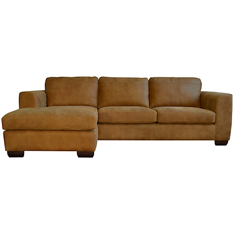 Buy john lewis felix semi aniline leather lhf corner for Brown leather chaise end sofa