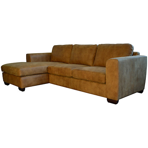 Buy John Lewis Felix Leather LHF Corner Chaise End Sofa, Masai Online at johnlewis.com