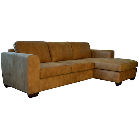 Buy john lewis felix semi aniline leather rhf corner for Brown leather chaise end sofa