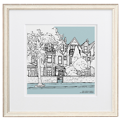 Letterfest Personalised House Illustration, Chalky White Frame, 44.8 x 44.8cm