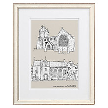 Buy Letterfest Personalised Wedding Double Illustration, Chalky White Frame, 44.8 x 56.8cm Online at johnlewis.com