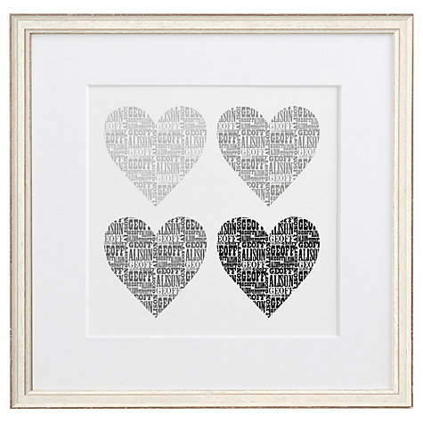 Buy Letterfest Personalised Typographic Hearts, 44.8 x 44.8cm Online at johnlewis.com