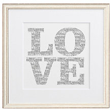 Buy Letterfest Personalised Typographic Love, 44.8 x 44.8cm Online at johnlewis.com