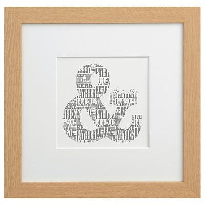 Letterfest Personalised Mr & Mrs Print, Dove Grey