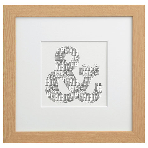 Buy Letterfest Personalised Mr & Mrs Print,  Dove Grey Online at johnlewis.com