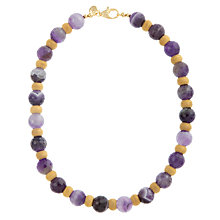 Buy Etrusca 18ct Gold Plated Faceted Amethyst Necklace, Purple Online at johnlewis.com