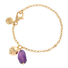 Buy Etrusca 18ct Gold Plated Amethyst and Disc Bracelet Online at johnlewis.com