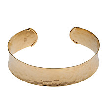 Buy Etrusca 18ct Gold Plated Hammered Satin Bangle Online at johnlewis.com